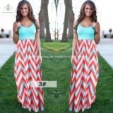 Платье Boho горячего пляжа повелительниц надувательства макси длиннее при напечатанная прокладка