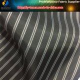 La guarnición negra/blanca de la funda, hilado teñió la tela de la raya para la ropa del poliester (S15.23)