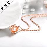 Rosegold überzogener Seashell mit Perlen-hängender Halskette für Mädchen