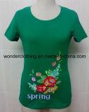T-shirt fait sur commande de mode de cou de fille de vente en gros ronde de broderie