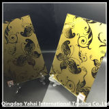 4mm Golden Yellow Glass с Butterfly