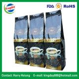 Toda la clase de bolso de café de la parte inferior plana y de película del rebobinado del café