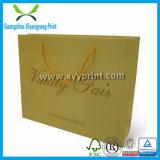 Bolso de encargo del almacenaje de las compras del papel de Kraft con insignia del sello del oro