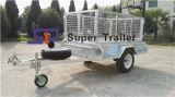 7X5 galvaniseerde de volledig Gelaste Aanhangwagen van de Doos met Verwijderbare Kooi