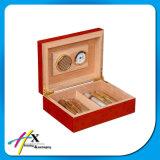 Rectángulo de empaquetado del final de la vendimia de madera sólida del cigarro de madera rojo del Humidor