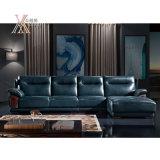 Il sofà di cuoio blu di modo moderno ha impostato (839)