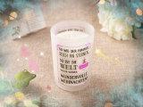 Vela Scented popular da massagem da soja no vidro desobstruído com tampa