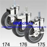 Purpurroter PU-Rad-Schwenker mit doppelter Bremsen-Fußrolle