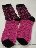 Chaussettes long de jacquard d'hiver de coton de configuration de fleurs de Madame (PTLS16048)