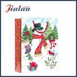 Bolsa de papel laminada brillante del regalo de las compras del muñeco de nieve de la Navidad del papel revestido