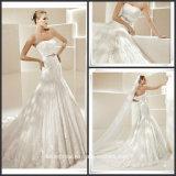 Laço Ruffled Strapless dos vestidos de casamento do cetim que perla o vestido de casamento G17809