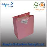 Bolsa de papel de embalaje del regalo de la sensación del color de rosa del resorte con la cinta (QY160392)