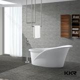 Ванны ванной комнаты черного лоснистого камня смолаы твердые поверхностные