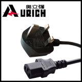 Cable eléctrico estándar del IEC C7 de la baja tensión H03vvh2-F 2X0.75 del cable de Reino Unido BS1363 3pin del enchufe de Asta