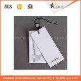 白いボール紙のペーパーPVC衣服のカスタムラベルの印刷のこつの札