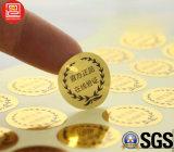 Etiqueta autoadhesiva adhesiva de la impresión impermeable de la alta calidad, impresión de la escritura de la etiqueta, etiqueta engomada de oro