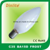 Bulbo incandescente de la vela de la helada de C35 Ba15D