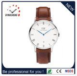 Relógio de negócios clássico para homem com alça de couro marrom