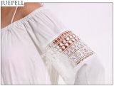 Nous circuits blancs creux piquants de partie de salopette de chemise de couleur solide de courroies de lacet sans bretelles de l'été des femmes longs