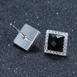 Pendientes negros de alto grado del Onyx del cuadrado de la plata esterlina