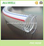 Boyau renforcé en plastique de ressort spiralé de l'eau de fil d'acier de PVC