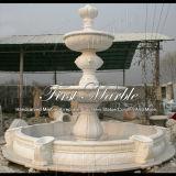 Schnitzenu. Skulptur-Marmorsteingranit-weißer Carrara-Brunnen Mf-238