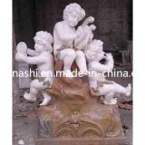 백색 Hand Carved Angel Sculpture, 정원을%s Marble Child Statue