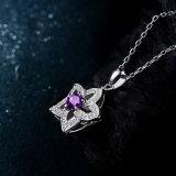 Tegenhanger van de Halsband van de Ster van Kristal 925 van 100% de Echte Echte Zilveren Natuurlijke Purpere voor de Fijne Juwelen van de Partij van het Huwelijk van Vrouwen