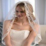 Края Applique шнурка Tulle длины локтя сбор винограда вуаль однослойного Bridal