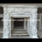 Indoor를 위한 베이지색 Marble Stone Carved Fireplace Surround Mantel