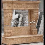 Cheminée travertin dorée pour meubles Mfp-701