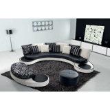 최신 둥근 소파 디자인 흑백 가죽 소파 8023