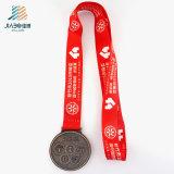 Дешевое изготовленный на заказ медаль тесемки бронзы Antique логоса школы выбитое 3D в кораблях металла