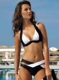 Frauen-Bikini-gesetzter Verband drücken den oben aufgefüllten Badebekleidungs-Badeanzug, der Beachwear badet