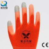 Guante cubierto PU de nylon del trabajo de la seguridad de la pantalla táctil del dedo del trazador de líneas de 13 calibradores (PU2007)