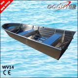 Tipo popular barco de pesca de aluminio soldado todo con la capa cuadrada del Gunwale y del caucho
