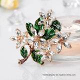 卸し売り方法合金のエナメルの緑の花のブローチPinの宝石類
