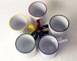 Caneca cerâmica da cor da borda das canecas de café 11oz