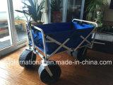 Carro de jardim dobrável que dobra o vagão de serviço público com a grande roda, azul