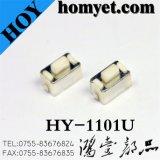 中国の製造業者黒い歪められたフィート(HY-1101U、6*3.5*5)が付いている縦SMTの気転スイッチ