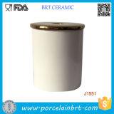 Vasilha cerâmica personalizada do frasco/suporte da vela da impressão com tampa de bambu/cerâmica