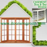 Ventana de madera con las parrillas ligeras decorativas clásicas para una mejor sensación, ventana de aluminio de la rotura termal de madera de la teca