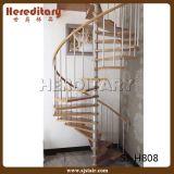 Escadaria espiral de aço com economia de madeira do espaço do passo (SJ-3008)