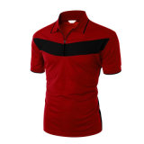 T-shirt de polo de chemise de circuit de couleur solide de Mens avec du coton