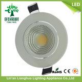 9W de aluminio de alta potencia de la lámpara LED de luz COB Down Light