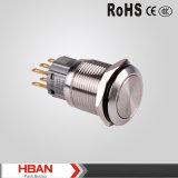 Commutateurs de bouton poussoir imperméables à l'eau de la boucle 220V DEL de la tête IP67 du diamètre 19mm de niveau élevé de protection
