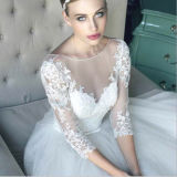A - Zeile volles Hülsenbateau-Tulle-Hochzeits-Kleid