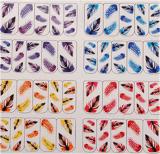 다채로운 기털 패턴 물 이동 못 예술 스티커 못 스티커