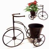 Praktische Metalldreiradgartenflowerpot-Fertigkeit mit Abziehbild-Benennung