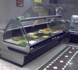 Congelador de cristal de calidad superior de la visualización de la carne de la tienda de delicatessen de la puerta de Liftup